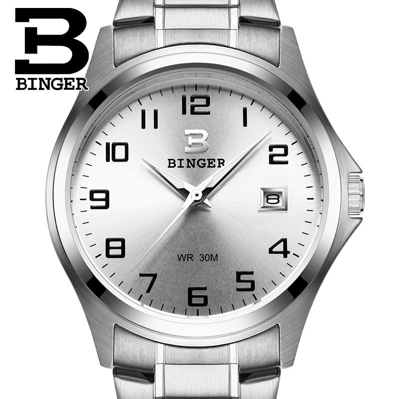 2017 Швейцария Роскошные мужские часы Бингер бренд Кварцевые Полный нержавеющей часы Водонепроницаемый Полный календарь гарантия B3052A7