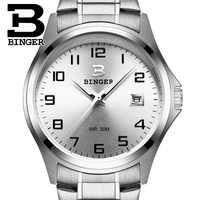 สแตนเลสนาฬิกาสวิตเซอร์แลนด์ Luxury นาฬิกาผู้ชาย BINGER ยี่ห้อควอตซ์กันน้ำปฏิทินนาฬิกาข้อมือชาย B3052A7