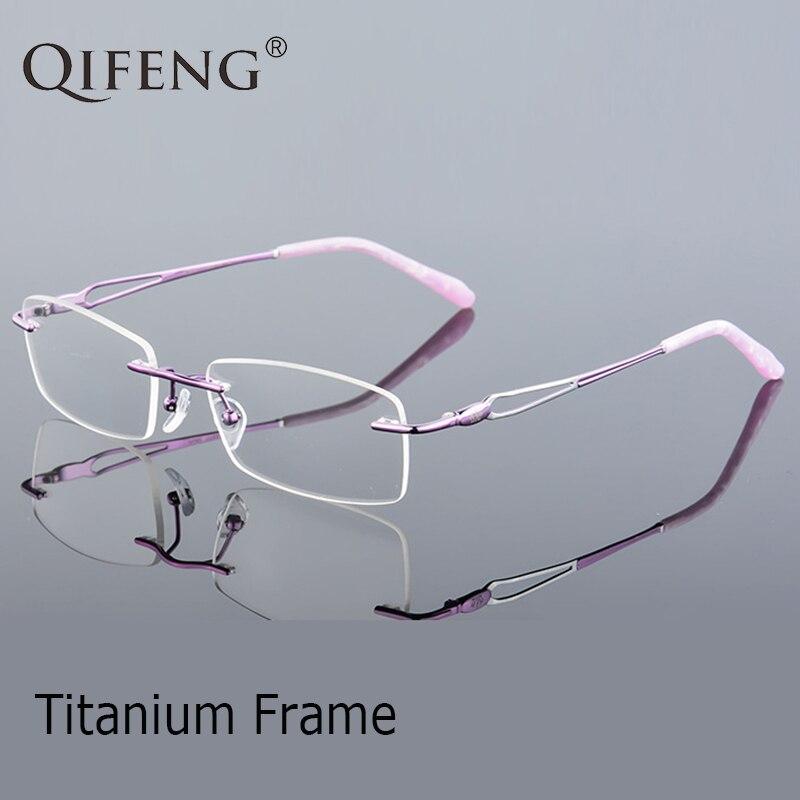 QIFENG Spectacle Frame Eyeglasses Women Computer Optical Prescription Titanium Rimless Clear Lens Glasses Female QF235