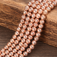 Wholesale 4 6 8 10 12 MM Pick Size Rose gold Lava Round Loose Beads charm Bracelets Jewelry Making Accessories