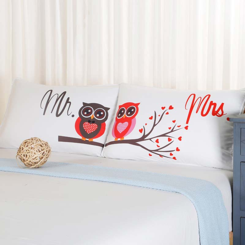 Aliexpress.com : Buy 1 Pair MR And MRS Owls Pillowcases