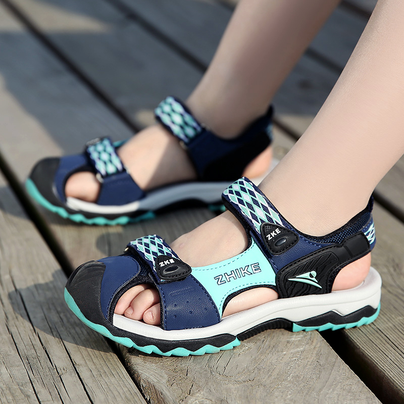 ULKNN Boys Baotou Sandals Summer New Children's Wild Tide Shoes Big Boy Student Boy Non-slip Soft Bottom Sandals Kids Blue Shoes