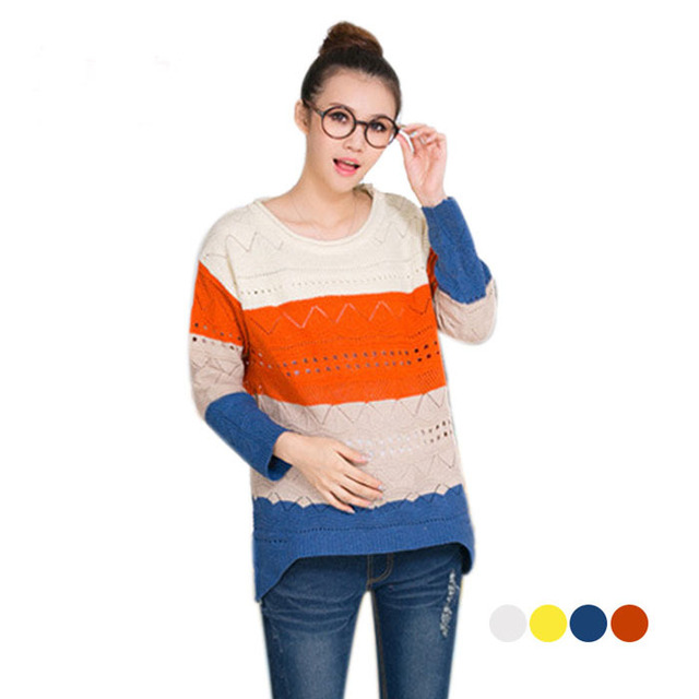 Casual autumn maternity sweaters for pregnancy plus size