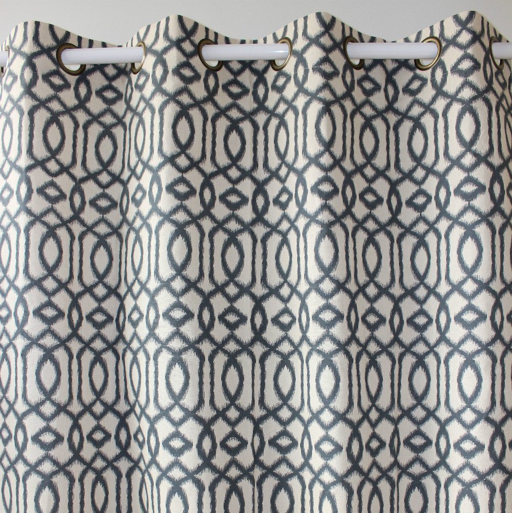 Navy blue patterned curtains - New Printed Geometry Dark Blue Cotton Linen Window Ready Curtains Panel Door Bedroom Living Room Store