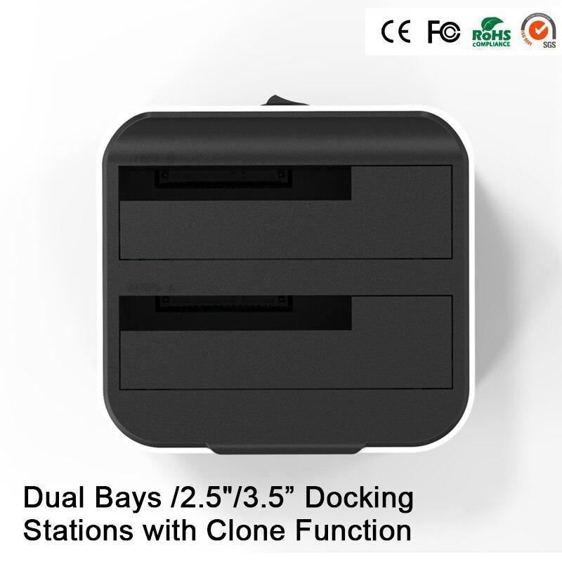 HD05 Amélioré! 2 baies 2.5/3.5USB 3.0 à SATA HDD SSD Station d'accueil double baie Station d'accueil avec fonction Clone prise 12 to lecture - 6