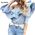 BerylBella Women Tops Off Shoulder Ruffles Blouse Shirt 2016 Autumn Casual Long Sleeve Blue Striped Shirt Blouses Winter Blusas