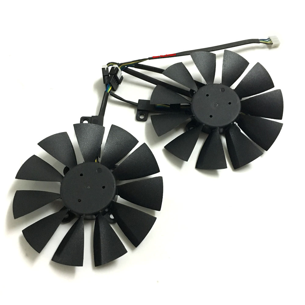 2pcs VGA gpu cooler GTX 1070/1060 RX 570 graphics card fan for asus dual GTX1060 GTX1070 ROG-STRIX-RX570 Video cards cooling free shipping diameter 75mm computer vga cooler video card fan for his r7 260x hd5870 5850 graphics card cooling
