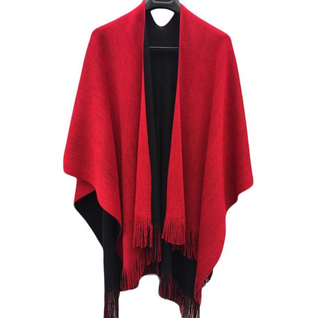 Hot Women Winter Knitted Cashmere Poncho Capes Shawl Cardigans Sweater Coat  Drop Shipping S22