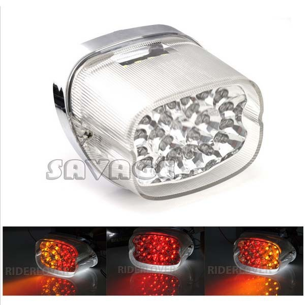 Clear Lens Motorcycle flashers Integrated LED Tail Light Brake Turn Signals Blinker For H Davidson aftermarket free shipping motorcycle parts led tail brake light turn signals for 2008 2012 suzuki hayabusa gsx1300r clear