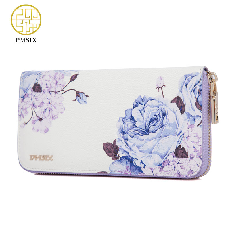 Women leather clutches wallets Pmsix 2017 New Chinese style cowhide leather Luxury long purse blue/red/white P201412
