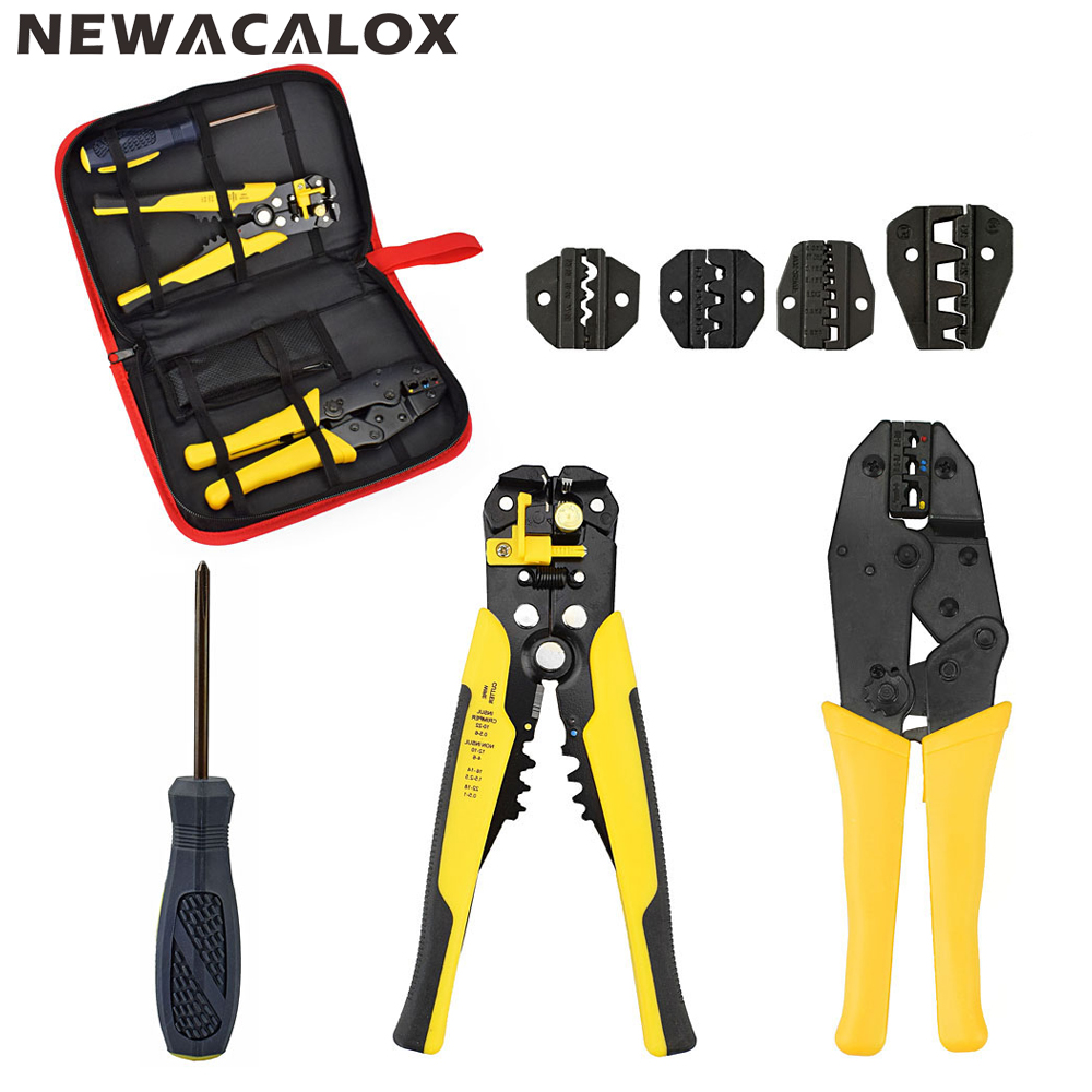 NEWACALOX Multifunction Self-adjustable Terminal Tool Kit Wire Stripper Crimping Pliers Wire Crimp Screwdriver with Tool Bag newacalox multifunction self adjustable terminal tool kit wire stripper crimping pliers wire crimp screwdriver with tool bag