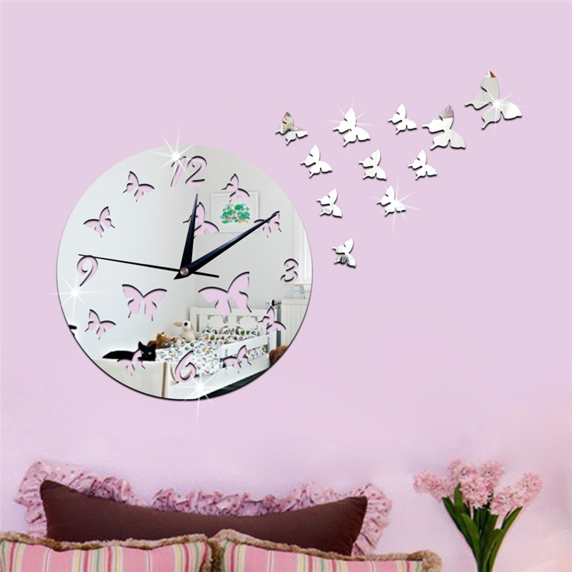 Wall Clock Butterfly Shape Wall Sticker Creative Home Decor Mirror ...