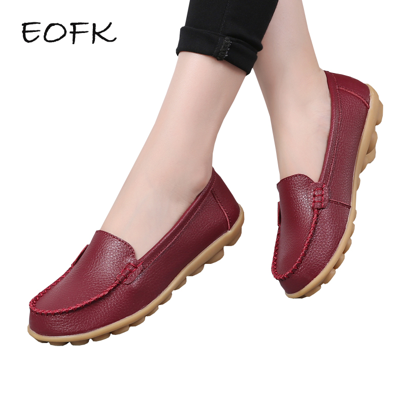 EOFK Women Loafers Women's Leather Shoes Woman Casual Flats Soft Slip On Flat Shoes Solid Color Female Shoes Plus Size 44 eofk women ballet flats women s flat shoes casual cow suede leather loafers shoes woman butter fly slip on solid ladies shoes