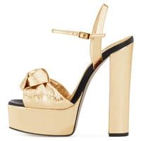 Gold Platforms Women Knotted High Heel Sandals Sliver Supper High Dress Heels Ladies Chunky Heel Summer Shoes Size 34 45