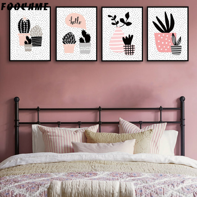 FOOCAME Cartoon Tropical Plant Cactus Leaf Posters and Prints Art ...