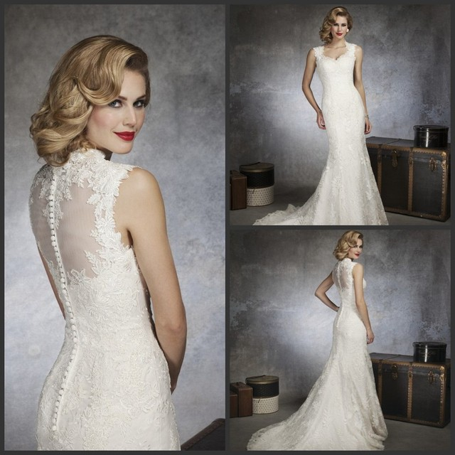 High Quality Gorgeous Mermaid Lace Wedding Dresses Two Shoulder Sweetheart Illusion Back Chapel Train