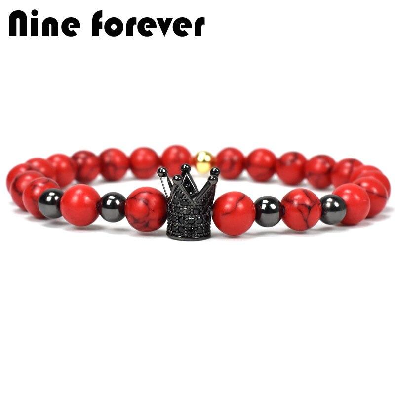 Nine forever natural stone beads bracelet men jewelry crown charms bracelets for women pulseira masculina erkek bileklik