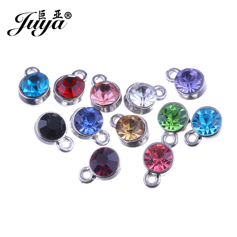 f9c895b6be Jaymaxi 6.5mm Crystal Charm Stainless Steel 12 Birthstone ...