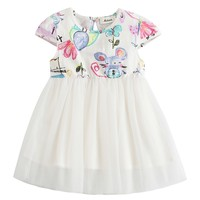 Baby Girls Dress Mouse Printed Pattern A-Line Dress Baby Girl Dresses Children Apparel Clothes 1-5Y