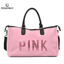 Sport Gym Handbag Women Fitness Nylon Waterproof Outdoor Yoga Shoulder Bags  Travel Exercise Large Capacity Pink 055a04bc13