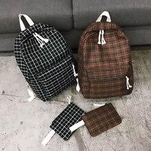 цена на Fashion Women Backpack Student Girl School Bag New Travel Bag Plaid Style Shoulder Bag For Women 2019 Bagpack Rucksack Knapsack