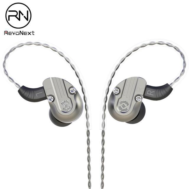 RevoNext NEX202 in Ear Monitor,Dual Driver Headphones 1DD+1BA Aluminum Alloy housing HiFi Earbuds, Upgraded Detachable Cables