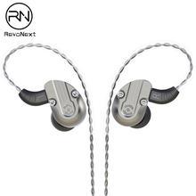 RevoNext NEX202 w uchu Monitor, podwójny sterownik słuchawki 1DD + 1BA obudowa ze stopu aluminium słuchawki douszne HiFi, ulepszone odłączane kable