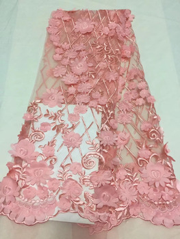Hot Sale Handmade Applique African French Lace Fabric With 3D Flowers High Quality African Tulle Lace Fabric 5yards Lace Fabrics