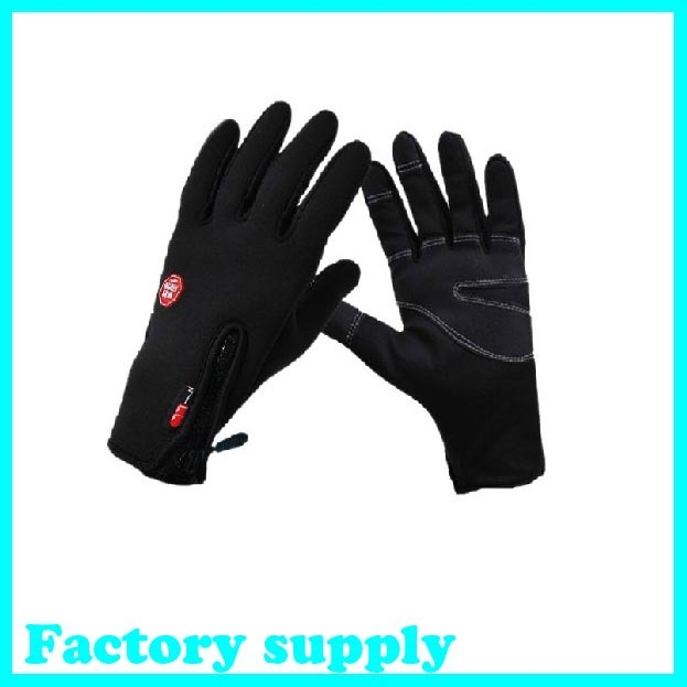 free shipping man winter sport windstopper waterproof ski gloves black -30 warm riding gloves snowboard Motorcycle gloves