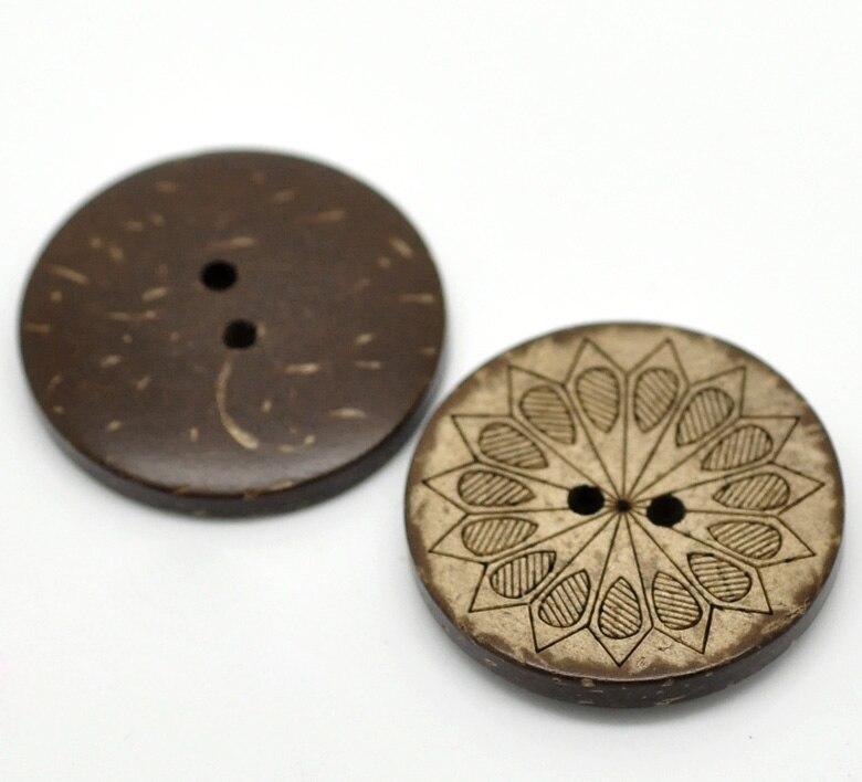 Hoomall 30 шт. коричневый узор Пуговицы 2 отверстия Кокосовое В виде ракушки Вышивание Пуговицы Craft Скрапбукинг 28 мм (1 1/8)