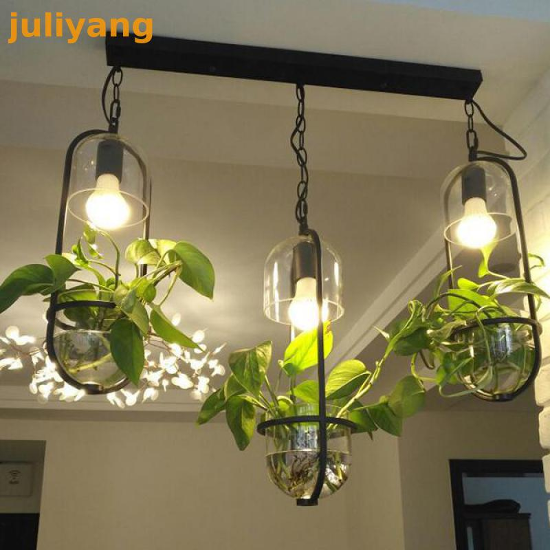 Chandeliers Discreet Pastoral Oval Glass Pot Iron Flower Plant Potted Led Lighting For Terrace Restaurant Bar Chandelier Ceiling Lights & Fans