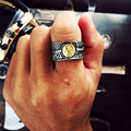 Antique Silver Feather Rings For Men Opening Titanium Steel Ring Jewelry Male Homme Goro's Jewelry Size 8,10