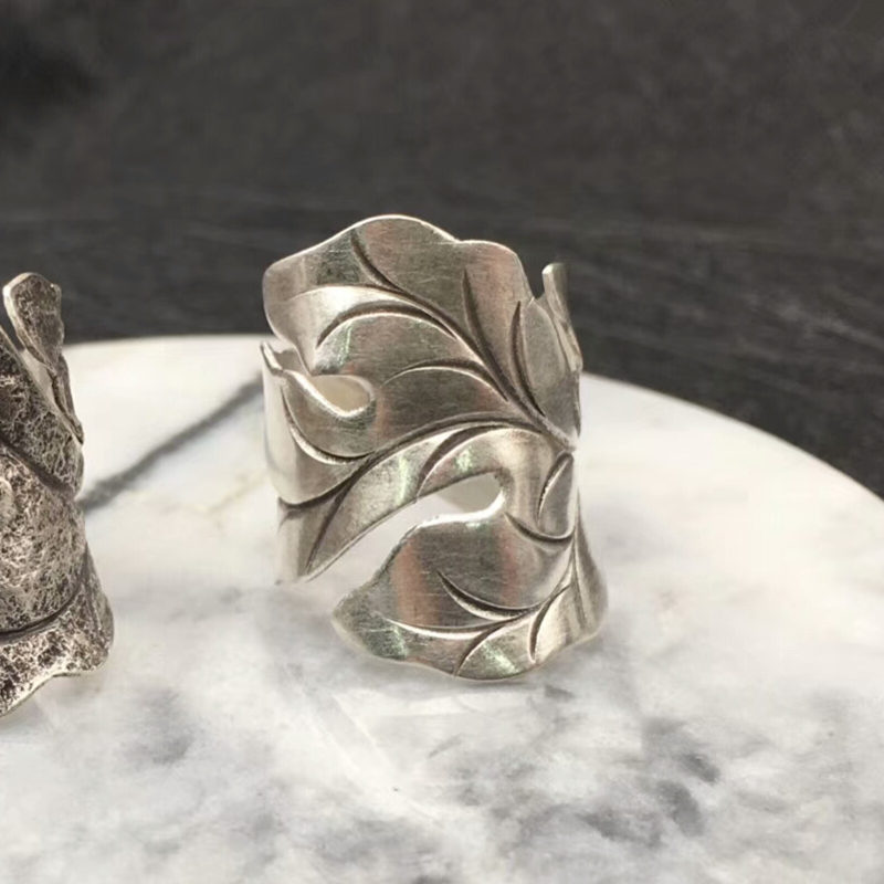 Solid Silver 925 Wide Leaf Cuff Rings Men Women Handmade Thai Silver Ring Vintage Ethnic Style 925 Sterling Silver Jewelry Gifts delicate solid color hollow out leaf cuff ring for women