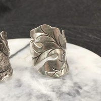 Solid Silver 925 Wide Leaf Cuff Rings Men Women Handmade Thai Silver Ring Vintage Ethnic Style 925 Sterling Silver Jewelry Gifts