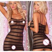 Pornô feminino Trajes Sexy Lingerie Sexy Camisola Net Listrado Preto Fishnet Mini Vestido Chemise Roupa Interior Erótica Para Mulheres