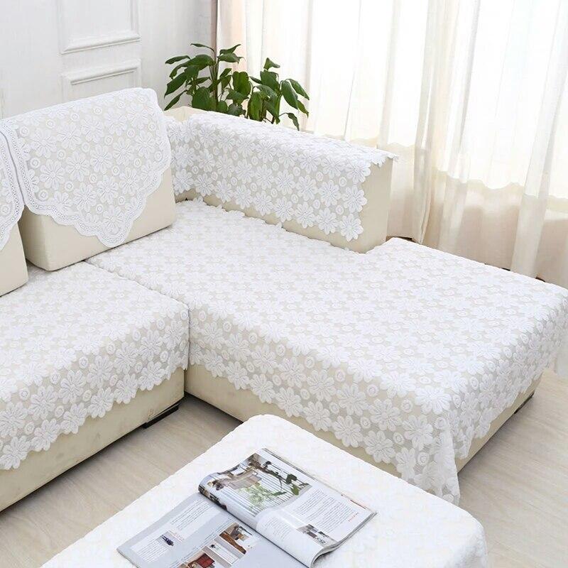 Lace plaid sofa cover housse de canape sofa hollow white manta para sofa sectional couch fabric for Housse de sofa