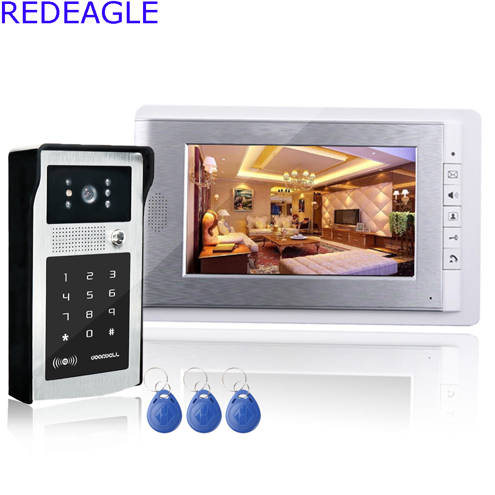 7 inch Wired Color Video Intercom Door Phone System with 1 LCD Monitor + RFID Code Keypad Unlocking Doorbell Camera