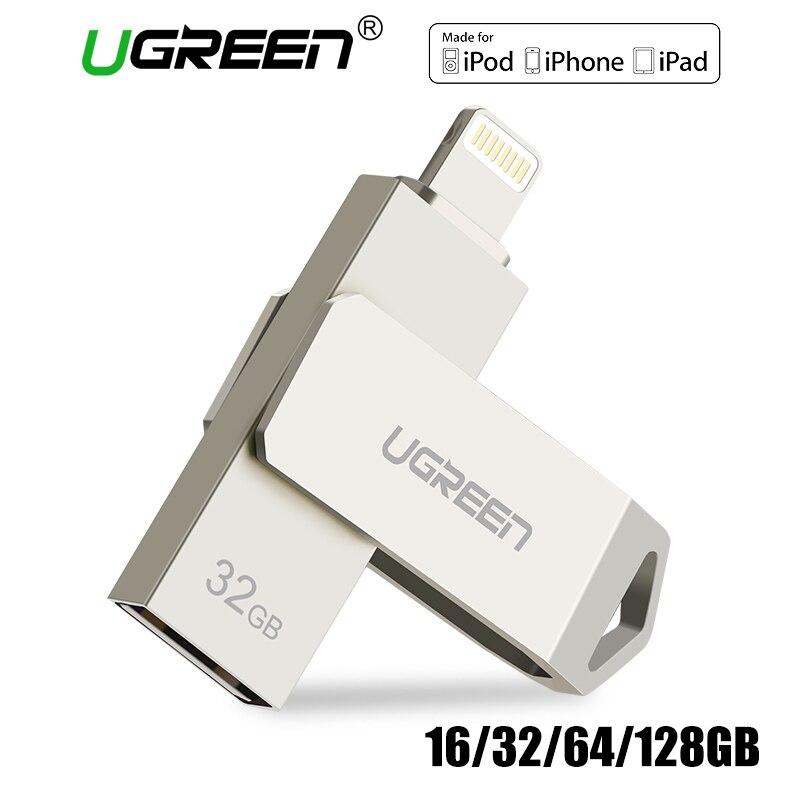 Ugreen USB Flash Drive USB-Stick für iPhone X Xs 9 8 7 Plus iPad 16/32/64 /128 gb Memory Stick USB Schlüssel MFi Blitz Pen drive