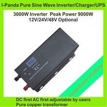 CE RoHS FCC LCD solar power inverter dc to ac 3000w pure sine wave inverter 3000W inverter charger UPS peak 9000W dc12v 24v 48v
