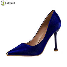 Luxury Bling silk women pumps Fashion Ladies Satin Black Blue Red Wedding Pointed Toe Crystal Thin Heels Party Stiletto Shoes цена 2017