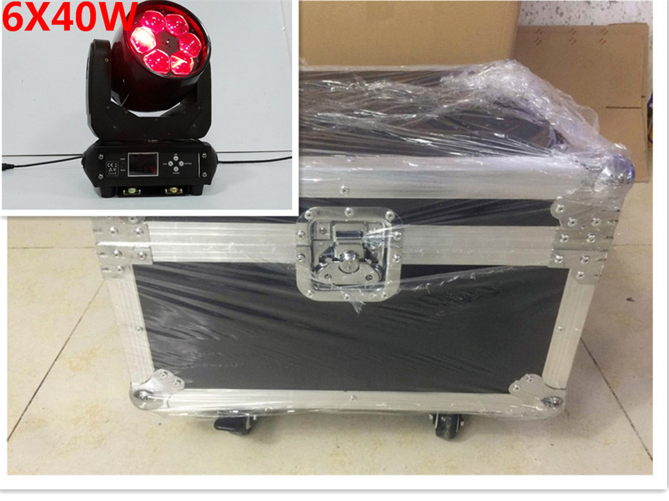 2 pcs lot with flight case LED RGBW 6x40 W 4in1 LED Beehive ZOOM Moving Head