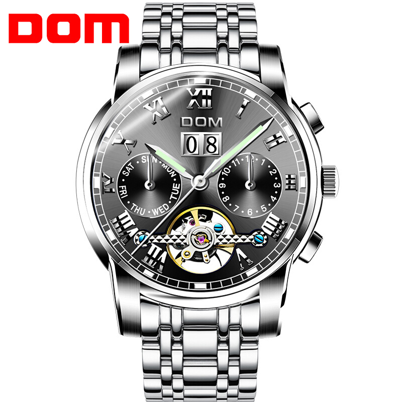 DOM Self-Wind  Automatic Mechanical Watch Men Stainless Steel Calendar Luminous Mens Watches Business Relogio Masculino Dropship fashion 40mm pranis silver dial full stainless steel sapphire glass automaic self wind mechanical men s business watch