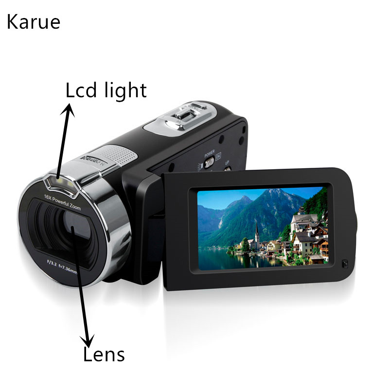 KaRue New 1080P HD 16x Digital Zoom Digital Video Camera Camcorder with 3.0 inch LCD Screen Max.24MP Support Face Detection 3