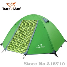 Trackman fiber glass pole & aluminum pole Camping Tent 2 Person One Bedroom Double Layers 3 Season Tent Tents For Adults