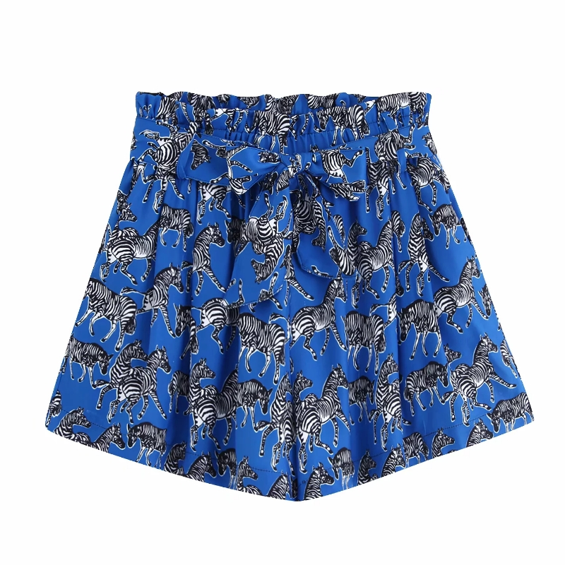 2019 Women Bow Tie Belt Animal Print Shorts Ladies Elastic Waist Paperbag Pocket Shorts Chic Zebra Pattern Pantalone Cortos P516