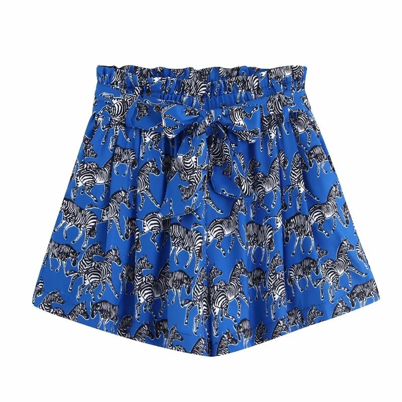 2019 Women Bow Tie Belt Animal Print Shorts Ladies Elastic Waist Paperbag Pocket Shorts Chic Zebra Pattern Pantalone Cortos P516