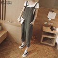 ZANZEA 2017 Overalls Rompers Womens Jumpsuits Loose Cotton Casual Ladies Solid Double Pockets Playsuit Strap Plus Size 3 Colors
