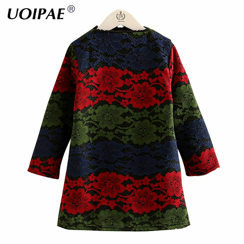 Kids Dress Girls 2017 New Winter Fashion Colorful Lace Dress For Girl Kids Long Sleeve Plus Velvet Thick Baby Girl Clothes 4541W