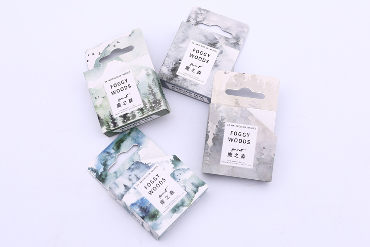 1.5cm*5m Creative Foggy Forest Washi Tape Decorative Adhesive Tape DIY Scrapbooking Sticker Label Masking Tape