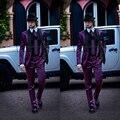 2016 Nuevo Hombre Italiano Trajes de Chaqueta de Color Morado con Negro Collar de La Boda Esmoquin últimos diseños bragas de la capa Trajes de hombre traje homme